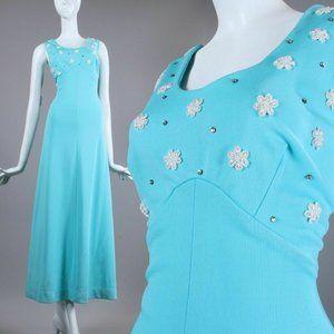 L/XL Vintage 60s Turquoise Cocktail Maxi Dress